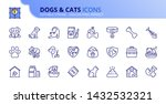 Stock vector simple set of outline icons about dogs and cats pets editable stroke vector x pixel 1432532321