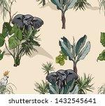 seamless pattern tropical...   Shutterstock .eps vector #1432545641