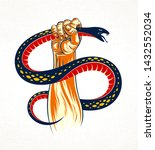 hand squeezes a snake  fight... | Shutterstock .eps vector #1432552034