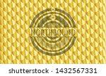 Northbound gold emblem. Scales pattern. Vector Illustration. Detailed.
