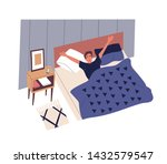 cute young man waking up in... | Shutterstock .eps vector #1432579547