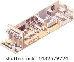 vector isometric restaurant or... | Shutterstock .eps vector #1432579724