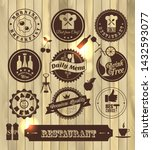 kitchen label set on wooden...   Shutterstock . vector #1432593077