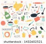 Kitchen Doodle Vector Icon Set. ...