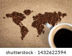 Black Coffee Beans Map And...