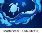 paper art craft of underwater... | Shutterstock .eps vector #1432630511