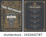vintage restaurant menu design... | Shutterstock .eps vector #1432642787