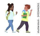 multiracial schoolkids saying... | Shutterstock .eps vector #1432646261