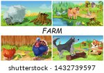 colorful farm animals concept... | Shutterstock .eps vector #1432739597
