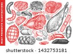 vintage vector meat products... | Shutterstock .eps vector #1432753181