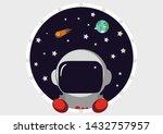 rocket in space. cosmic world.... | Shutterstock .eps vector #1432757957