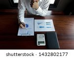 businessmen calculate... | Shutterstock . vector #1432802177