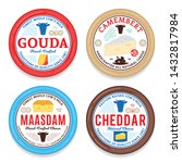 vector cheese round labels and... | Shutterstock .eps vector #1432817984