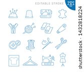 sewing related icons. editable... | Shutterstock .eps vector #1432818224