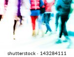busy city pedestrian people... | Shutterstock . vector #143284111