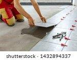 ceramic tiles. tiler placing... | Shutterstock . vector #1432894337