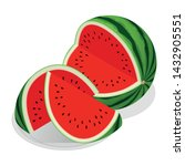 isometric watermelon and pieces ... | Shutterstock .eps vector #1432905551