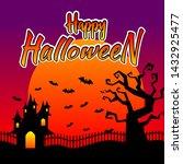halloween night background with ... | Shutterstock .eps vector #1432925477