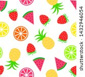 summer pattern with fruits.... | Shutterstock .eps vector #1432946054