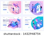 set isometric landing pages ... | Shutterstock .eps vector #1432948754