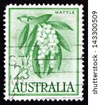 Small photo of AUSTRALIA - CIRCA 1959: a stamp printed in the Australia shows Golden Wattle, Acacia Pycnantha, Tree, circa 1959