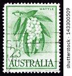 Small photo of AUSTRALIA - CIRCA 1959: a stamp printed in the Australia shows Golden Wattle, Acacia Pycnantha, Tree, circa 1959