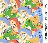 cute seamless forest pattern...   Shutterstock . vector #1433013797