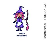 cute witch with broomstick and... | Shutterstock .eps vector #1433014361