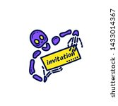 skeleton holding a sign with an ... | Shutterstock .eps vector #1433014367