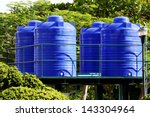 Blue Water Tank On The Tower In ...