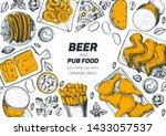 pub food and beer vector... | Shutterstock .eps vector #1433057537