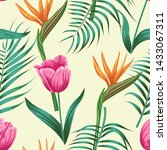 floral seamless pattern with... | Shutterstock . vector #1433067311