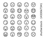 set of emoticons icons outline  ... | Shutterstock . vector #1433067341