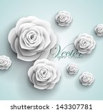 Stock vector  d paper rose flowers vector abstract background 143307781