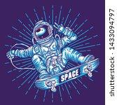 astronaut skateboarding surfing ... | Shutterstock .eps vector #1433094797
