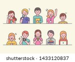 cute young students are holding ... | Shutterstock .eps vector #1433120837