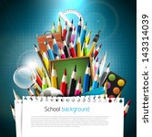 colorful crayons with school... | Shutterstock .eps vector #143314039