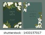 white flower wedding invitation ...   Shutterstock .eps vector #1433157017