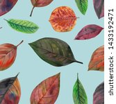 colorful autumn leaves painted... | Shutterstock . vector #1433192471