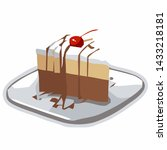 piece of birthday cake with... | Shutterstock .eps vector #1433218181
