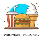 burger icon with cup of soda... | Shutterstock .eps vector #1433274317