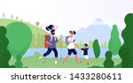 family hiking nature. man ... | Shutterstock .eps vector #1433280611