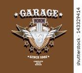vector garage label with engine.... | Shutterstock .eps vector #143329414