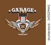 vector garage label with engine.... | Shutterstock .eps vector #143329441