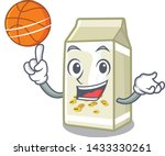 with basketball soy milk in a... | Shutterstock .eps vector #1433330261