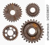 Four Rusty Gears Isolated On A...