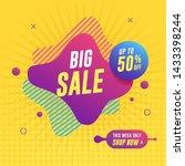 big sale banner on yellow... | Shutterstock .eps vector #1433398244