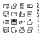 payment line icons set. money.... | Shutterstock .eps vector #1433415587