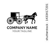 modern horse-drawn carriage logo design