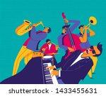 jazz quintet. funky musicians... | Shutterstock .eps vector #1433455631